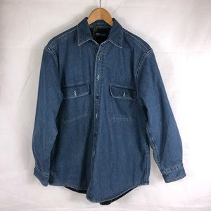 Faded Glory Men's Jean Button Down Shirt Size M